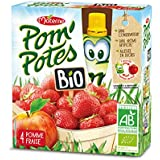 Pom'potes - Compotes Pomme Et Fraise, Allégées En Sucre, Certifié AB - (Prix Par Unité ) - Produit Bio Agrée Par AB