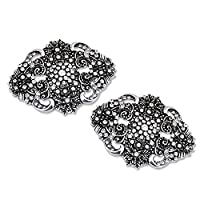 ElegantPark BM Women 2 Pcs Shoe Clips Vintage Charm Sparkly Flower Design Rhinestones Wedding Evening Party Decoration Antique Silver