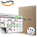 Pizarra blanca magnética de borrado en seco, con calendario mensual, organizador mensual y semanal,...