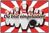 EInladungskarten Kindergeburtstag Bowling Kinderparty mit Text - 12 Stück