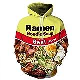 3D Hoodie Abbigliamento Ramen noodle soup felpa Stampa la carne di maiale/pollo/Carni bovine divertente pullover con cappuccio 02 L