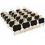 24pz. Mini Lavagnette Legno Cavalletto Supporto per Promemoria Messagio Segnatavola Feste Caffeteria Ristorante