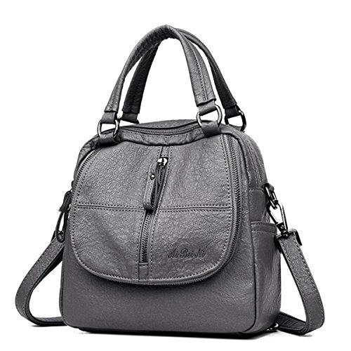 Mode Rucksack, JOSEKO Frau High-End Multifunktion Weich PU Leder Handtasche Doppelschicht Grosse Kapazität Rucksack Grau - Multifunktions-leder Schwarz