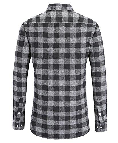 ... JEETOO Klassics Herren Slim Hemd Kariert Kentkragen Herbst/Winter  Langarm Shirts Regular Fit Freizeit Karohemd ...