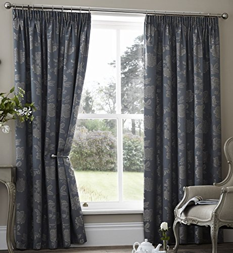 alamo-floral-lined-curtains-66-x-90-teal-dark-blue-grey-jaquard-flowers-leaves-pair-of-ready-made-pe