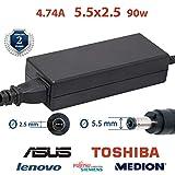 Laptop Netzteil 4.74A 5,5x2,5 19v 90w   Ladekabel für die Laptops ASUS, Toshiba   2 Jahre Garantie auf das Laptop-Ladegerät   asus ladekabel