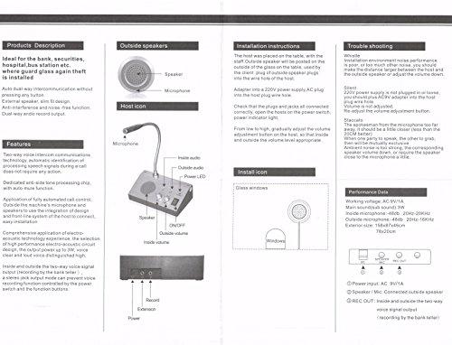 Bank Counter Window Intercom System Dual-way Intercommunication Microphone (2W UK Version)