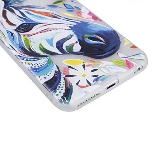 Etsue [Leuchtende Nacht] TPU Schutzhülle für iPhone 6S/iPhone 6 (4.7 Zoll) Silikon Handyhülle, Malerei Tier Blume Muster Einzigartig Night Luminous TPU Silikon Handytasche Weiche Schlank Ultradünnen K Leuchtende Nacht,Zebra