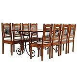 Festnight Essgruppe 9-TLG. Esszimmer Set aus Massives Akazienholz mit Sheesham-Finish Stahlbeine inkl. 1 Tisch und 8 Stühle