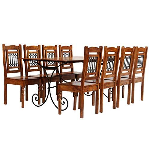 Festnight Essgruppe 9-TLG. Esszimmer Set aus Massives Akazienholz mit Sheesham-Finish Stahlbeine inkl. 1 Tisch und 8 Stühle (8 Für Tisch Esszimmer)