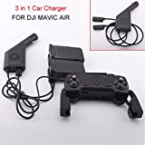#3: Alcoa Prime 3 in 1 Car Charger Battery Remote Control USB Charging for DJI Mavic Air Drone