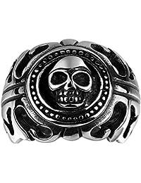 Lureme® punky anillo de estilo antiguo corazón maya de acero inoxidable calavera de plata banda de negro para Boyes y hombres (04001108)