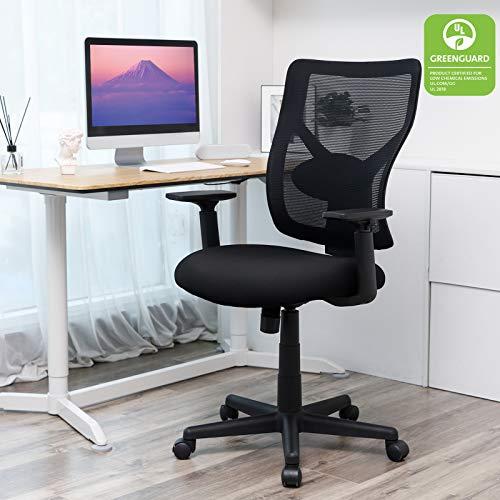 SONGMICS Bürostuhl, ergonomischer Schreibtischstuhl mit Verstellbarer Lendenstütze und Armlehnen, Höhenverstellbar und Wippenfunktion, Netzrücken, Schwarz