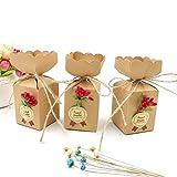 JZK 50 Boîtes Kraft + chaîne de jute + fleurs + autocollants, boîte de bonbons en papier pour le mariage anniversaire Noël douche de bébé remise de diplôme