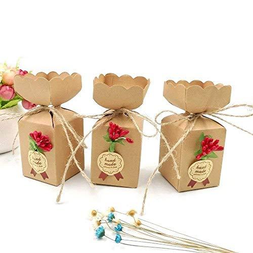 JZK 50 Cajas favor Kraft línea yute + flores