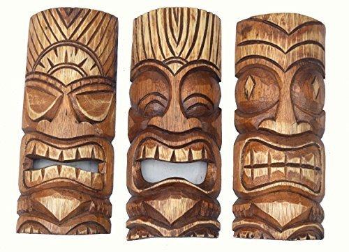 Interlifestyle 3 Tiki Masken 30cm im Hawaii Style 3er Set Holzmaske Wandmaske Südsee Tribal