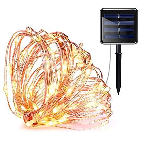 AMIR Solar Lichterkette, 20M 200 LED 8 Modus Kupferdraht Lichterketten Bunt, Batteriebetriebene String Lights für Innen, Garten, Hochzeit, Party, Weihnachten usw.