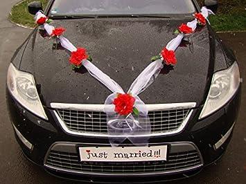 Decoration voiture mariage rouge et blanc