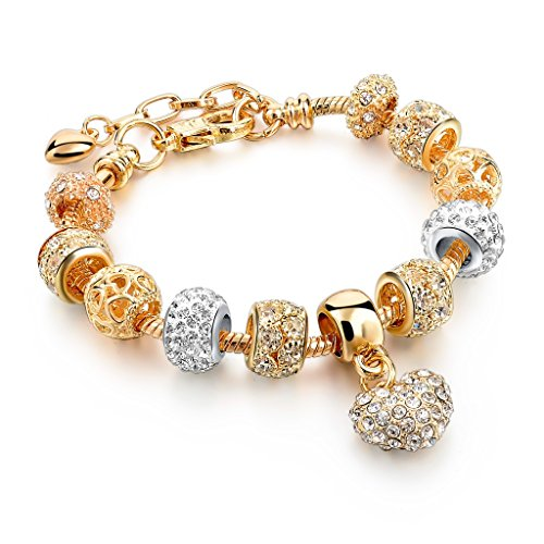 Long Way Gold Plated Love Series CZ Crystal Beads Peach Heart Charm Extension Chain Bracelet for Ladies