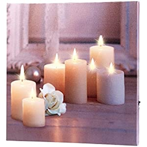 infactory LED Bilder: Wandbild Kerzen mit Rose mit flackernder LED-Beleuchtung, 30 x 30 cm (LED Leinwandbild)