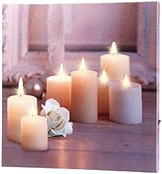 infactory LED Leinwandbild: Wandbild Kerzen mit Rose mit flackernder LED-Beleuchtung, 30 x 30 cm (Kerzenbilder)