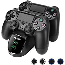FlexDin cargador de mando doble PS4 para DualShock 4 con LED - Base de carga EXT para mandos de Sony PlayStation 4 / PS4 Slim / PS4 Pro