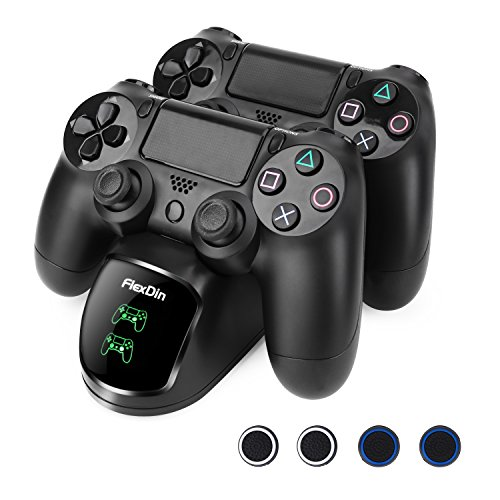 FlexDin PS4 / Slim / Pro Controller Ladestation mit LED - Twin Docking Station für DualShock 4 Controller - PlayStation 4 Zubehör, Schwarz
