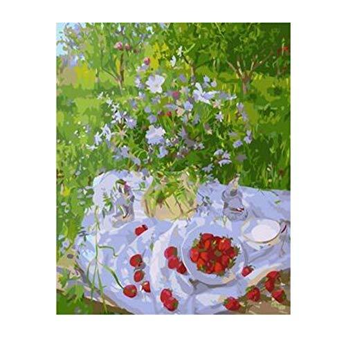 ERTQA Tabelle im Garten Leinwand malen nach Zahlen handgemalte Wand dekorative Bilder für Wohnzimmer 40x50cm