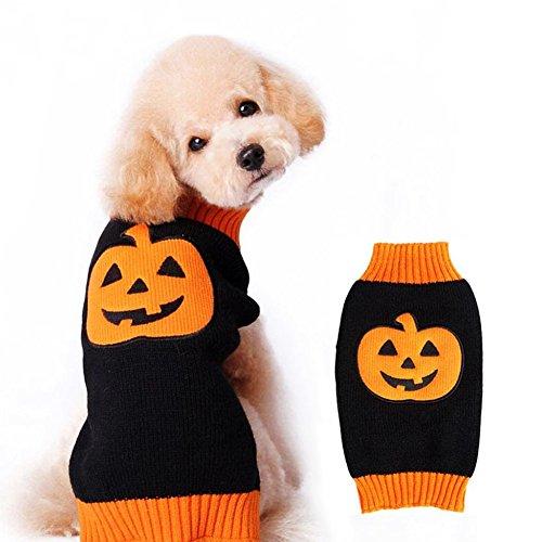 huifengs Hund Pullover Urlaub Halloween Kürbis Pet Strickwaren (Kürbis Hund Kostüm Halten)