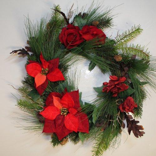 Set 2 x di corona d'abete con stella di natale, rosa, ortensie, bacche, pigne, rosso, Ø 60 cm - 2 pezzi di ghirlanda fiorita / decorazione natalizia - artplants