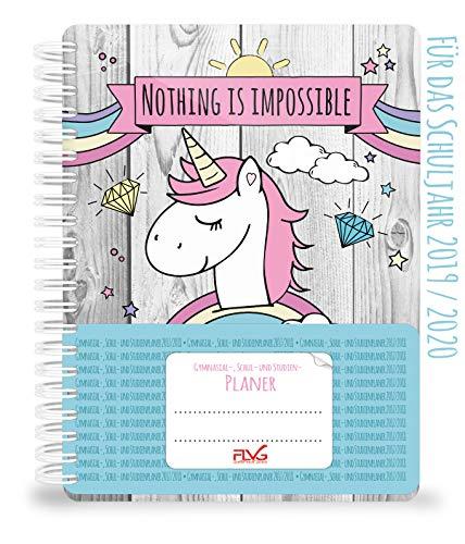 Agenda escolar y de estudio FLVG 2019/2020: calendario unicornio con dulce unicornio, arco iris, diamantes y nubes en la portada, cuaderno de espiral de tapa blanda, hecho a mano.