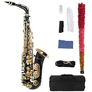 Andoer® bE Alto Saxophone Brass Lacquered Gold E Flat Sax 82Z Key Type Woodwind Instrument with Cleaning Brush Cloth Gloves Strap Padded Case