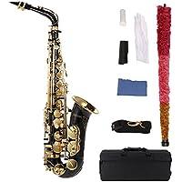 ammoon® bE Alt saxophon Messing lackiert Gold E Wohnung Sax 82Z Schlüsselart Holzblasinstrument mit Reinigungsbürste Stoffhandschuhe Korkfett Strap Padded Fall