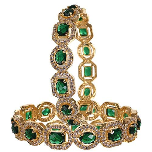 Ratnavali jewels American Diamond Studded Gold Plated Traditional Emerald Green CZ/Diamond Bangles for Women/Girls RV1938