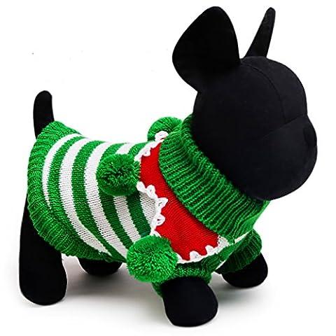 Moolecole Haustier Kostüm Weihnachten Jersey Streifen Sweatshirt Hund Katze Kleider Teddy Komisch Kleider Grün Weiß M