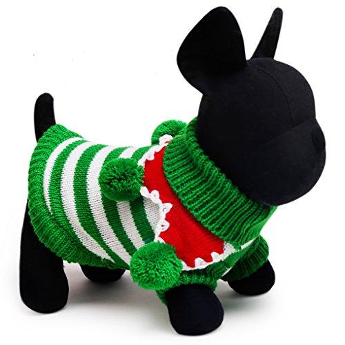 Moolecole Haustier Kostüm Weihnachten Jersey Streifen Sweatshirt Hund Katze Kleider Teddy Komisch Kleider Grün Weiß (Weißes Kleid Weihnachten Kostüm)