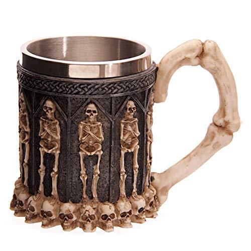 QZY Nórdico Espíritu 3D Cráneo Taza Acero Inoxidable Taza, 600 ML Whisky, Café, Vino, Jarra de Cerveza-Estilo Medieval Vikingos,D