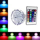 1 Pack : Waterproof Submersible Color Changing LED Lights Battery Powered 10 LEDs Bulb With Remote Control For Wedding, Party, Swimming Pool, Fish Tank, Christmas Decorations Light