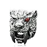 Epinki Plata de Ley 925 Gótico Saber Diente Tigre Anillo para Hombre Tamaño 16 para Compromiso y Boda