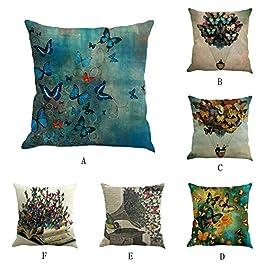 MORETIME Taie d'oreiller Décorative, Housse de Coussin Plusieurs Modèles Peinture de Papillon Lin Housse de Coussin…