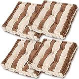 Gräfenstayn Set de 4 Cojines, Cojines para Silla de 40 x 40 x 8 cm para Interior y Exterior de 100% algodón cojín Acolchado/cojín para el Suelo (Marrón/marrón Claro)
