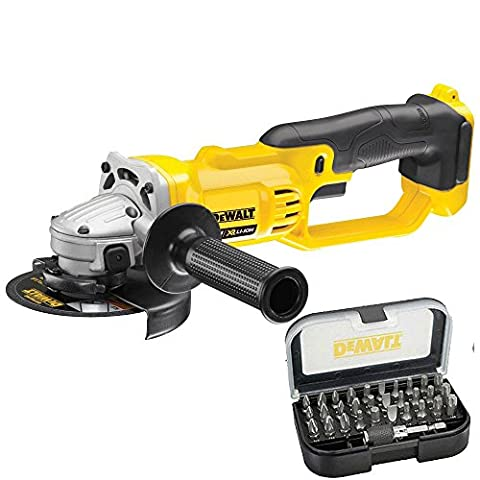 DeWalt DCG412N 18V XR Angle Grinder Body Only & DT7944QZ 31 Piece Screwdriver Bit Set & Holder