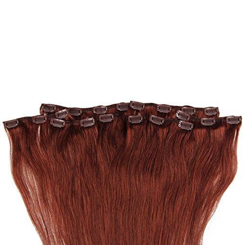 Beauty7 120g Extensions de Cheveux Humains à Clip 100% Remy Hair Haute Qualité #33 Couleur Aucrun Longueur 60 cm