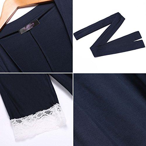 Avidlove Morgenmantel Damen Neuheiten für Frühling baumwolle Bademantel schwarz grau V Ausschnitt Schlafanzug Marineblau