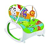 #9: The Flyers Bay Fiddle Diddle Baby Bouncer Cum Rocker With Vibration Function & 2 Toys (Lion Green)