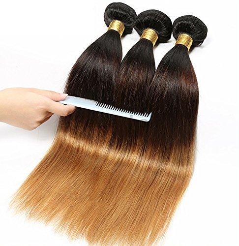 Mensch Haar Schuss Unverarbeitet Brasilianisch Echthaar Tressen Haarverlängerung Weben Klasse 8A Haar Erweiterungen Gerade 1b/4/27# Schwarz zu Blond Farbe 1 Bündeln 100g , 22