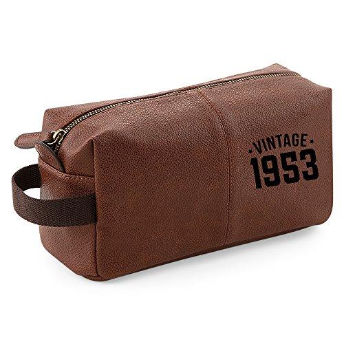 Mens Wash Bag 65th Birthday Vintage 1953 Keepsake Funny Gift Novelty Unique Idea Tan