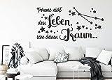 tjapalo® s-pkm377 Wandtattoo Wohnzimmer Spruch Wandtattoo träume nicht dein leben sondern lebe deinen Traum (B58 x H30 cm)
