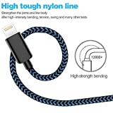 WUXIAN Phone Charger Cable 5-PACK [3/3/6/6/10 ft] USB Cable Extra Long Nylon Braided Cable For iPhone X/8/8 P/7/7 Plus/6/6 Plus/6s/6s Plus/5/5s/5c/se-Black&Blue
