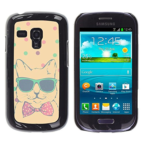 All Phone Most Case / Hard PC Metal piece Shell Slim Cover Protective Case for Samsung Galaxy S3 MINI NOT REGULAR! I8190 I8190N teal polka dot cool cat bowtie shades Polka Dot Bowties